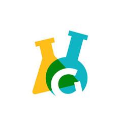 G letter lab laboratory glassware beaker logo icon vector