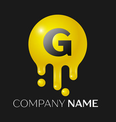 g letter splash logo yellow dots and bubbles vector image