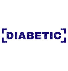 Grunge textured diabetic stamp seal between vector