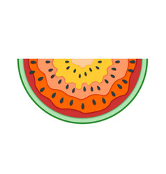 Half slice of watermelon flat icon of vector