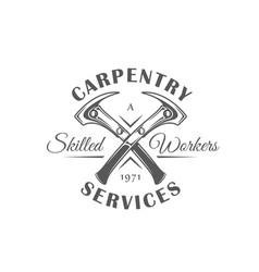 Hammers modern carpentry label vector