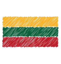 hand drawn national flag of lithuania isolated on vector image