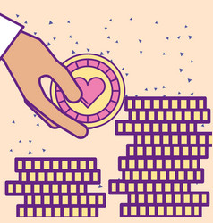 Hand holding casino chip and pile coins vector