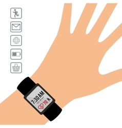 hand wearing smart watch wearable technology vector image