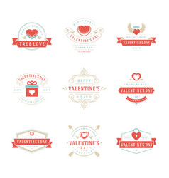 Happy valentines day greetings cards labels vector