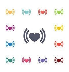 heart beat flat icons set vector image