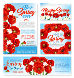 Hello spring floral banner card poster template vector