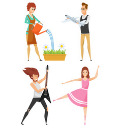hobdance and play garden and collect vector image