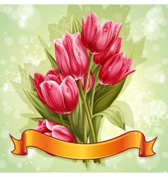 Image of a bouquet of flowers of pink tulips vector