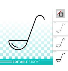 ladle simple kitchen ware black line icon vector image