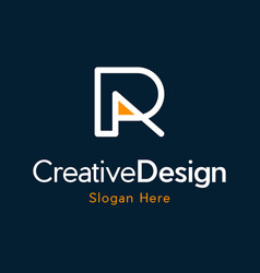 Letter r outline monogram creative business logo vector