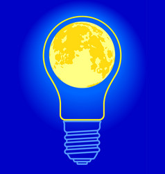 light bulb moon vector image