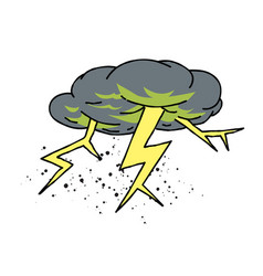 Lightning bolt cartoon hand drawn image vector