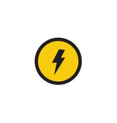 Lightning strike symbol in circle warning banner vector