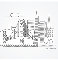 Linear of San Francisco USA Flat vector