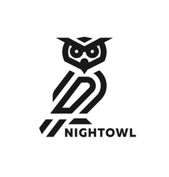 linear owl logo or design template vector image