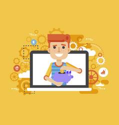 man piggy bank in hands design vector image