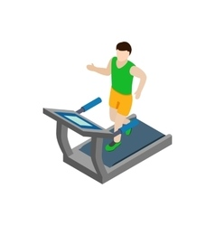 Man running on treadmill icon isometric 3d style vector