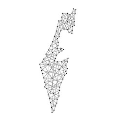map of israel from polygonal black lines and dots vector image