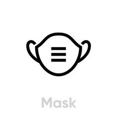 Mask coronavirus icon editable line vector