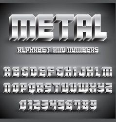 Metal alphabet and numbers vector