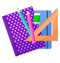 Notebook and pencil chancellery object vector