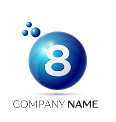 Number eight splash logo blue dots and bubbles vector