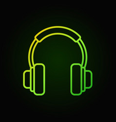 on-ear headphones green icon in thin line vector image