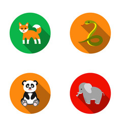 Panda elephantsnake foxanimal set collection vector