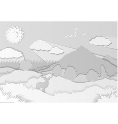 paper cut with beautiful sunny landscape vector image