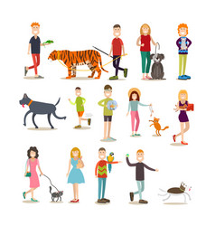 Pet owners with their animals flat icon set vector