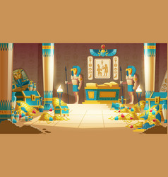 Pharaoh tomb full of treasures cartoon vector