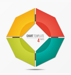 polygonal circle chart infographic template with 4 vector image