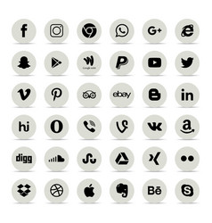 Popular social media icons such as facebook vector