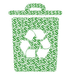 Recycle bin collage of dollar vector