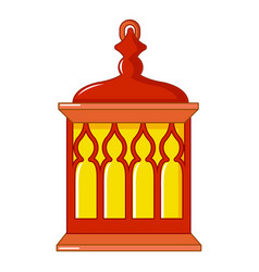 red and yellow turkish lantern icon cartoon style vector image
