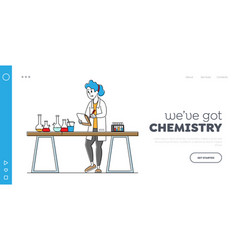 Researcher in chemical or biochemical lab landing vector