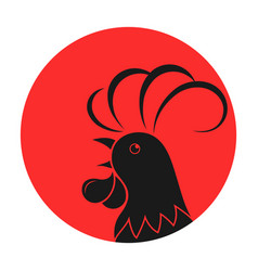 rooster against the background of the sun vector image