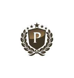 Royal vip shield leaf initial p vector