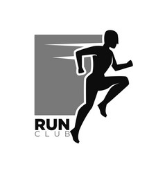 run club monochrome logotype with human in move vector image
