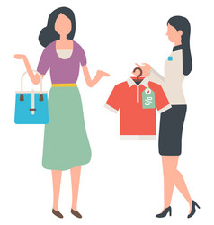 Sale and shopping customer and shop assistant vector