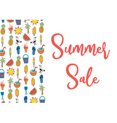 sale banner with summer icons pattern vector image