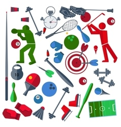Set athletes sports goods balloons vector image