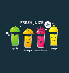 Set fresh juices in glasses a poster on topic vector