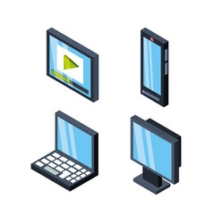 Set isometric communications technology tools vector
