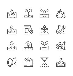 Set line icons of seed and seedling vector