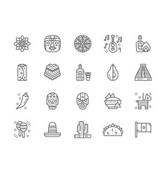 Set mexican culture line icons tequila vector