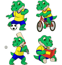 set of actions with a crocodile toddler vector image