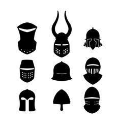 Set of black icons of knightly helmets vector
