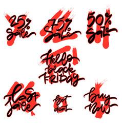 set of flat design black friday sale stickers vector image